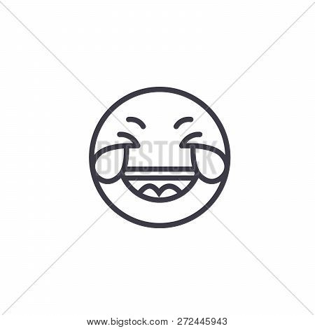 Grinning Emoji Concept Line Editable Vector, Concept Icon. Grinning Emoji Concept Linear Emotion Ill
