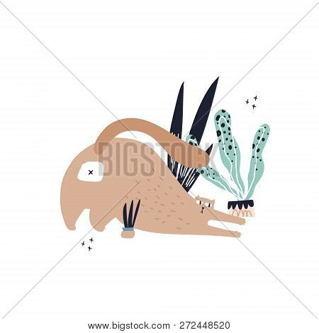 Guilty Cat Color Hand Drawn Vector Character. Naughty Cat Play With House Plant Flat Clipart. Cute A