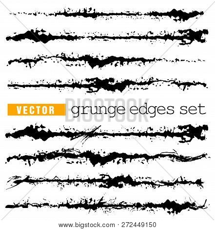 Set Of Splashes Edge. Grunge Strokes Template. Art Brush For Paint Draw. Hand Draw Ink Stains Vector