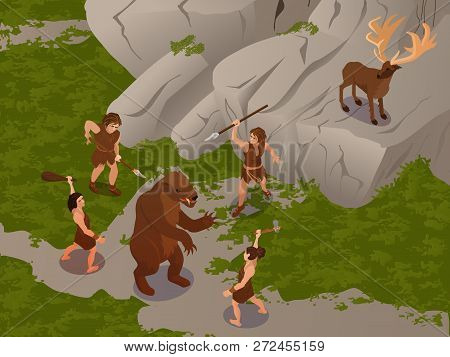 Ancient People Using Primitive Hunting Weapon To Ambush And Kill Dinosaur And Hert Isometric Composi