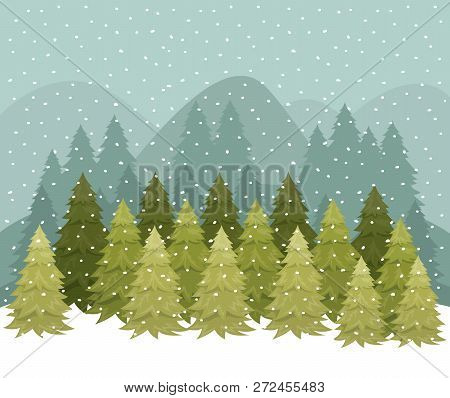 Snowscape With Pines Forest Scene Vector Illustration Design