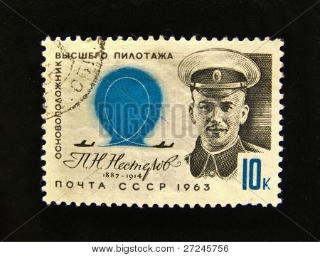 USSR - CIRCA 1963: A Stamp printed in the USSR shows founder of aerobatics P. Nesterov, circa 1963.