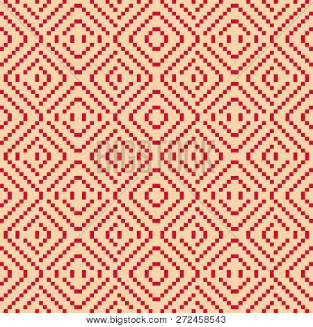 Vector Geometric Folk Ornament.  Traditional Nordic Ethnic Seamless Pattern. Ornamental Background W
