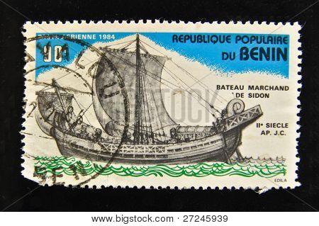 REPUBLIC OF BENIN - CIRCA 1984: A Stamp printed in the REPUBLIC OF BENIN shows Old sailing ship,  circa 1984.
