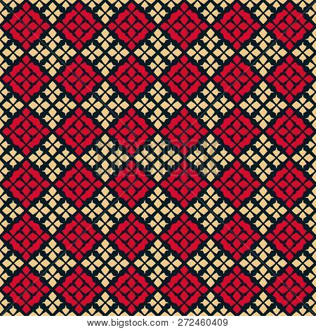 Vector Seamless Pattern. Traditional Geometric Folklore Ornament. Tribal Ethnic Motif. Ornamental Te