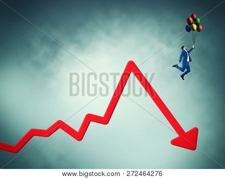 Businessman Flying With Balloons Off A Decreasing Graph.