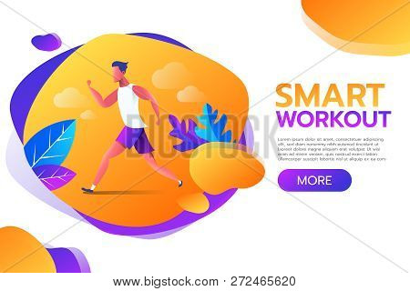 Smart Workout. Young Man Running Or Jogging In The Park With Frame Banner