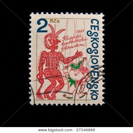 CZECHOSLOVAKIA - CIRCA 1981: A stamp printed in Czechoslovakia showing devil and fool, circa 1981