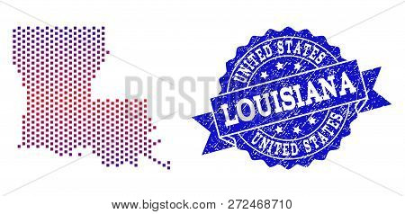Geographic Composition Of Dotted Map Of Louisiana State And Grunge Stamp. Mosaic Vector Map Of Louis