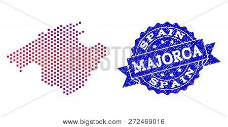 Geographic Composition Of Dotted Map Of Majorca And Grunge Stamp. Mosaic Vector Map Of Majorca Creat