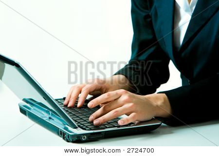 Working On The Laptop