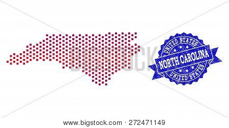 Geographic Combination Of Dotted Map Of North Carolina State And Grunge Seal Stamp. Mosaic Vector Ma