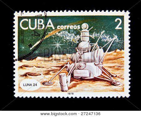 CUBA - CIRCA 1978: A stamp printed in the Cuba shows Space station Luna 24, circa 1978. Big space series