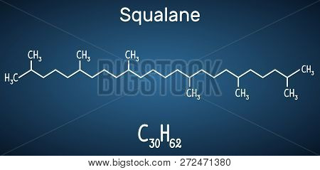 Squalane Molecule. It Is Used In Cosmetics As Emollient And Moisturizer Structural Chemical Formula