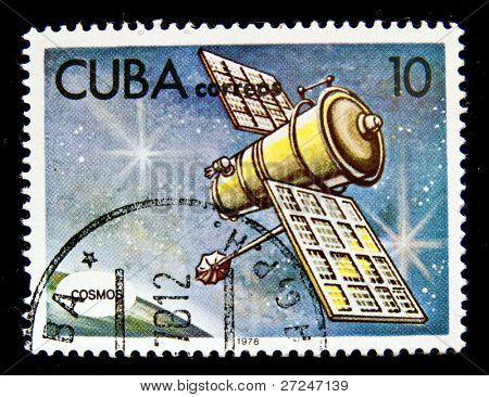 CUBA - CIRCA 1978: A stamp printed in the Cuba shows Space telecommunication station, circa 1978. Big space series