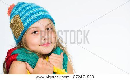 Warm Woolen Accessories. Girl Happy Face White Background. Hat And Scarf Keep Warm. Kid Wear Warm Kn