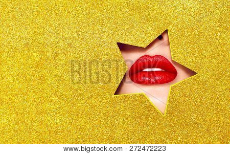 Beautiful Plump Bright Lips Of A Young Beautiful Woman With Red Lipstick Look Into The Pattern Of St