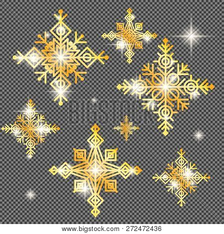 Shine Golden Snowflake Covered With Glitter On Transparent Background. Christmas Decoration With Shi