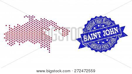 Geographic Collage Of Dotted Map Of Saint John Island And Grunge Seal Stamp. Mosaic Vector Map Of Sa