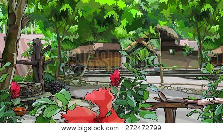 Painted Courtyard Landscape With Wooden Buildings And Tropical Plants