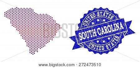 Geographic Composition Of Dotted Map Of South Carolina State And Grunge Seal Stamp. Mosaic Vector Ma