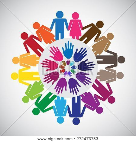 Holding Hands Togather For Support, Concept Of Volunteer Support, Charity, Outreach And Unity, Vecto