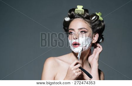 Morning Grooming And Skincare. Girl With Fashion Hair. Retro Woman Shaving With Foam And Razor Blade