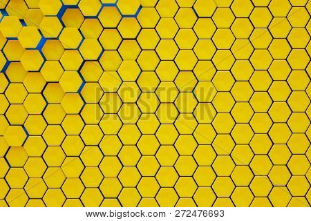 3d illustration of a hexagonal shapes background