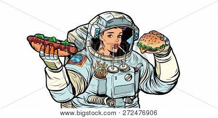Woman Astronaut Eats. Cola, Hot Dog And Burger Fast Food. Isolate On White Background. Pop Art Retro