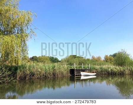 Wareham Dorset, England. Rural scene with wooden rowing boat moored on the riverbank of the River Frome. Reeds and weeping willow tree in view with blue sky against scenic landscape.