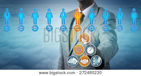 Agent Using An Artificial Intelligence App To Find A Successful Candidate In A Virtual Talent Pool.