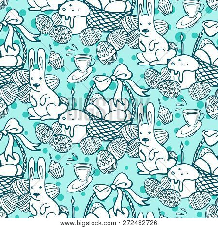 Seamless Vector Pattern With Hand Drawing Eggs And Bunny. Easter Holiday Background Of Doodle Holida