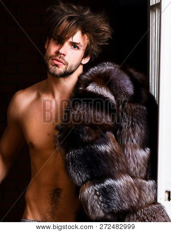 Sexy Macho Tousled Hair Coming Out Bedroom Door. Richness And Luxury Concept. Bachelor Rich Lover. G