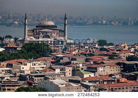 Istanbul, Turkey - Jun 5, 2008: Bird Eye View Of Hagia Sofia In Eminonu Istanbul