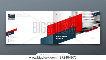 Landscape Brochure Design. Red Corporate Business Template Brochure, Report, Catalog, Magazine. Broc