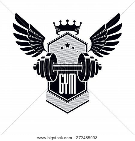 Logotype For Heavyweight Gym Or Fitness Sport Gymnasium, Winged Retro Stylized Vector Emblem Or Badg