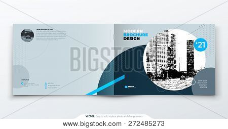 Landscape Brochure Design. Blue Grey Corporate Business Template Brochure, Report, Catalog, Magazine