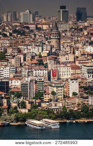 Istanbul, Turkey - Jun 5, 2008: Birdeye View Of Galata, Istanbul