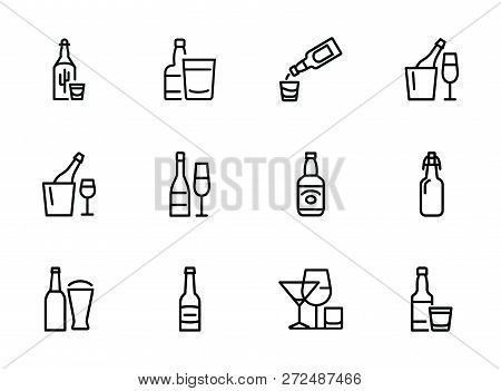 Bottles Of Alcohol Line Icon Set. Glass, Shot, Flute, Spirits. Alcoholic Drinks Concept. Can Be Used