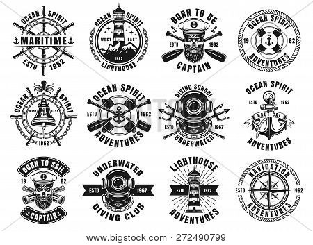 Nautical Thematic Big Set Of Vector Emblems, Labels, Badges Or Logos In Retro Monochrome Style Isola