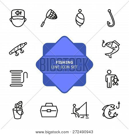 Fishing Line Icon Set. Fisherman, Net, Hook. Fishery Concept. Can Be Used For Topics Like Catch, Hob