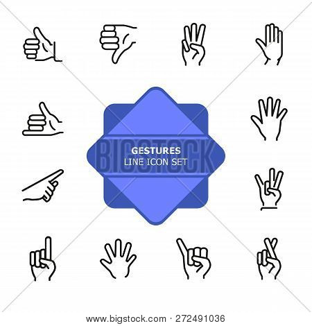 Gestures Line Icon Set. Like, Dislike, Finger Crossed. Gesturing Concept. Can Be Used For Topics Lik