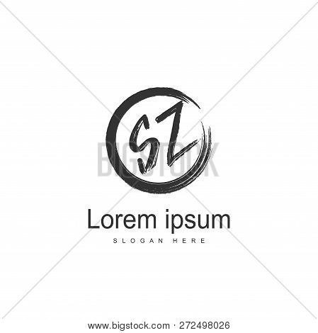 Initial Letter Sz Logo Template. Minimalist Letter Logo