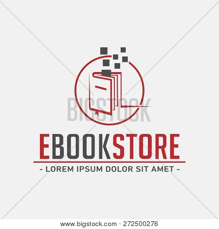 E-book Store Logo. E Book Shop Design Template. Vector And Illustration.