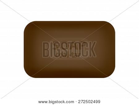 A Piece Of Tar Soap In A Vector On A White Background.
