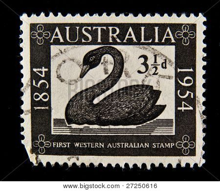 AUSTRALIA - CIRCA 1954: A stamp printed in Australia showing reprint of the first Australian stamp