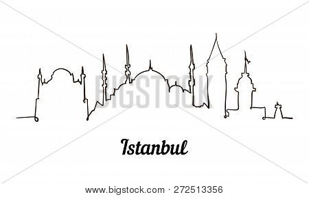 One Line Style Istanbul Sketch Illustration Isolated On White Background.