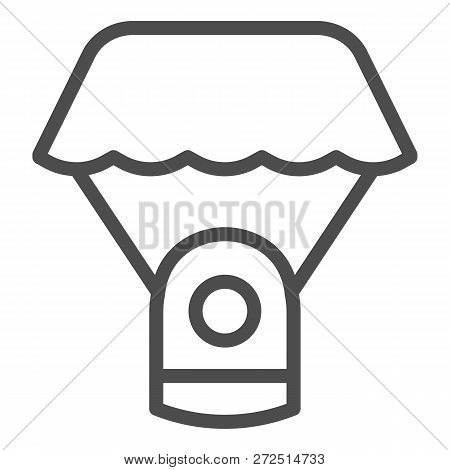 Capsule Parachute Line Icon. Space Parachute Vector Illustration Isolated On White. Astrophysics Out