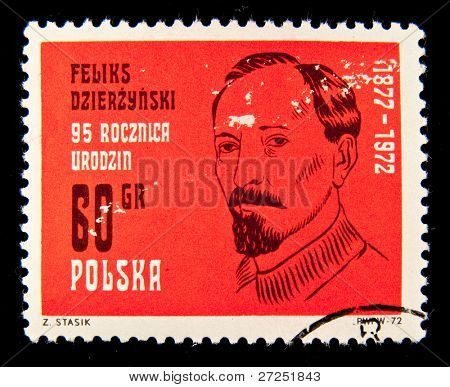 POLAND - CIRCA 1972: A stamp printed in Poland shows Feliks Dzierzynski, circa 1972