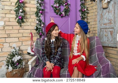 All Girls Are Gorgeous. Little Girls With Fashion Style For Winter Season. Little Children On Christ